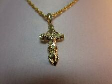"14 KT GOLD PLATED ORNATE CRUCIFIX  RELIGIOUS CHARM & 24""  ROPE CHAIN  SET-2630"