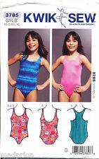 KWIK SEW SEWING PATTERN 3785 GIRLS/TEENS SZ 4-14 SWIMSUITS, RACER BACK, LEOTARDS