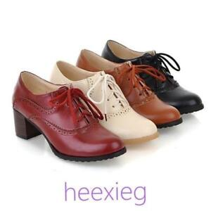 Vintage Womens Brogues Lace Up Pointed Toe Block Mid Heel Lace up Shoes Pumps sz