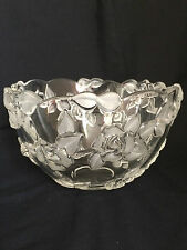 Vintage Pretty Clear Glass with Embossed Roses Frosted Leaves Serving/Punch Bowl