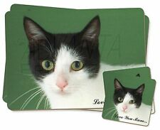 Black+White Cat 'Love You Mum' Twin 2x Placemats+2x Coasters Set in , AC-53lymPC