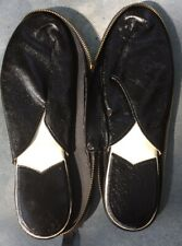 Vintage Men's Travel Slippers Small 8-9 In Zippered Case Made In Japan Nice