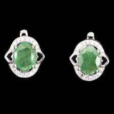 GENUINE GEM Oval Cut 9x7mm Rich Green Emerald & W Cz 925 Silver 2 HEART Earrings