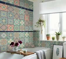 9PCS Traditional Tile Transfers Stickers Wall Vintage Moroccan Mosaic Home Decor