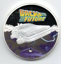 Back to the Future Silver Coin FIlm Gem Stone Clock Tower 80s Retro 1980s Iconic