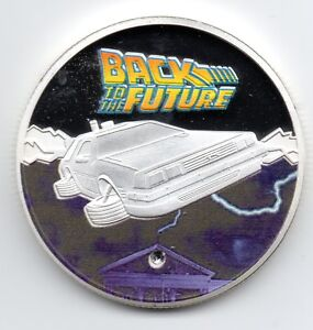 Back to the Future Colour Silver Coin Gem Faux Diamond Marty McFly Film 80s Old