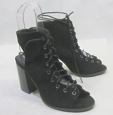 "new ladies Cape Robbin Black 3.5""Block Heel Open Toe Lace Up Sexy Shoes Size 7"