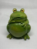 Vintage Frog Piggy Bank Green Ceramic