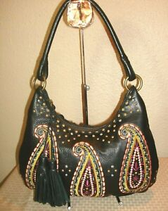 Isabella Fiore Gorgeous Black Leather Paisley Embroidered Hobo Shoulder Bag MINT