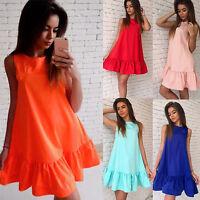 Women Sleeveless Short Mini Blouse Dress Summer Holiday Beachwear Swing Sundress