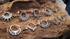 Ornate Indian Tribal brass silver Septum Ring Seamless nose clicker Goa hippy