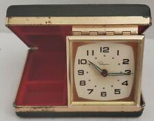 VTG Ingraham Wind Up Travel Alarm Clock Jewelry Case 1960s Works Luminous Hands