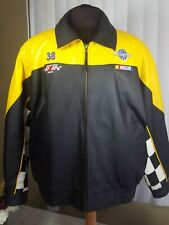 Burks Bay Robert Yates #38 Nascar Leather Racing Jacket 2XL Black & Yellow