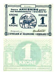- Paper Reproduction -  Greenland 1 crown krone krona  1913          668