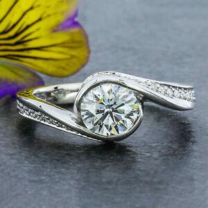 2.20ct vvs1/d Runde Diamanten Verlobungsring Sterling Silber Frau fein Juwel