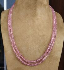 Pink Morganite Faceted Rondelle Beaded Necklace 5 mm Natural Gemstones Beads