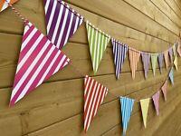 Candy Stripe Bunting💛🟣💚Multi Colour Pretty Kids Party Decor Prop Fun Card 3m