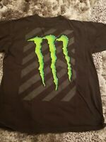 Monster Energy Size Men's Large Black Green Graphic Tee T-shirt