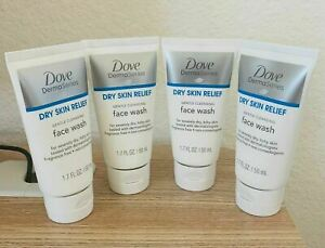 Lot of 4: Dove Derma Series Dry Skin Relief Gentle Cleansing Face Wash 1.7oz