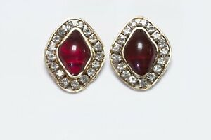 CHANEL 1970's Maison Gripoix Red Poured Glass Crystal Earrings