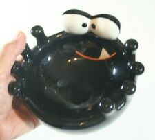 Halloween Ceramic Cracker Barrel Black Spider Bowl for Candy & Other Scary Stuff