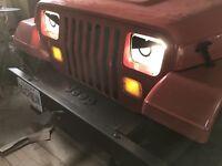 1987-1996 PINK GIRL Jeep Wrangler YJ,XJ Cherokee Angry Eyes Headlight Decal