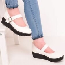 Patternless Mary Janes Synthetic Casual Heels for Women