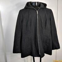 ANNE KLEIN Wool Jacket Coat Womens size XL Charcoal black hooded zippered