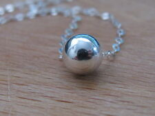 Sterling silver bead pendant, Silver ball necklace, dot necklace, ball necklace