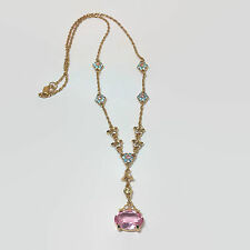 Swarovski Swan Logo Flower & Faceted Pink Crystal Gold Tone Necklace