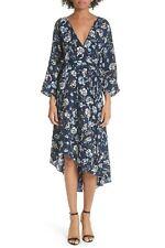 DIANE Von FURSTENBERG Navy Ambrose Floral Print Eloise Silk Wrap Dress M 8/10