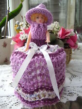 Hand Knitted Lilac / White Doll Toilet Roll Cover