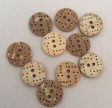 10 x 13mm Coconut Shell Buttons - Australian Supplier