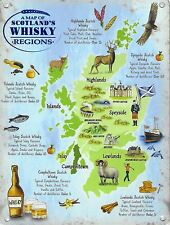 New 15x20cm Scotland Whisky Regions Map small metal advertising wall sign