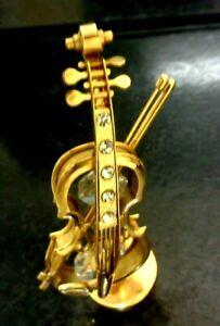 GENUINE GOLD GILT  Musical Instrument SWAROSKI CRYSTAL CELLO/VIOLIN Rhinestone