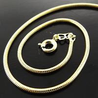 NECKLACE PENDANT CHAIN GENUINE REAL 18K YELLOW G/F GOLD LADIES FINE SNAKE DESIGN