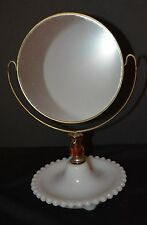VTG Barber Shaving Mirror Stand & Mirror Milk Glass Base Metal & Brass