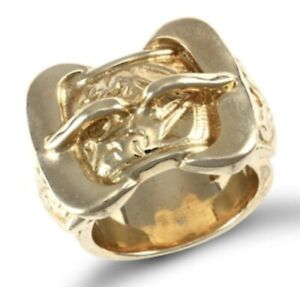 9ct Yellow Gold Buckle Ring 31 grams - UK Jewellers
