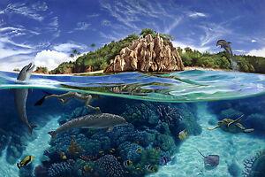 Swimming with Dolphins, artist Brian Babinski Original Oil, Wyland like seascape