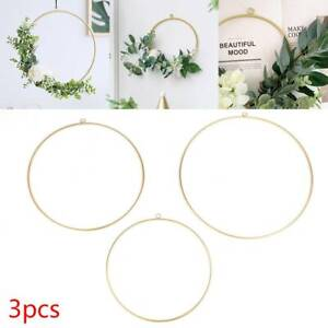 3Pcs Floral Hoops Include Artificial Flower Metal Wreath Wedding Hanging Décor