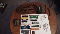 Lot Of Vintage HO Scale Train Cars, Track and Accessories