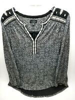 Lucky Brand Womens Blouse Top Size 1XL Black Long Sleeve