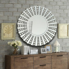 Starburst All Glass Diamante Large Round Wall Mirror For Home Decor 81x81CM