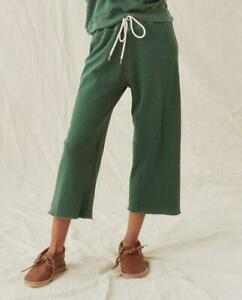 The Great Wide Leg Cropped Sweat Pants in palm leaf green 0 XS