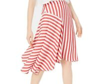 Lucy Paris Women's Skirt Red Size Large L Maya Striped Asymmetrical $79 #405