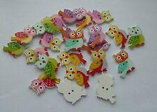 Grandes ojos Owl botones madera, para la elaboración de LIBRE P&P o coser 21. vendedor de Reino Unido