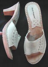 Hush Pupplies Ladies Beige leather Backless high heel sandals UK 6 EU 39