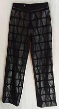 Black PLEATHER Patches on Mesh Polyester Spandex TiBALDi Dress Club Pants! 4