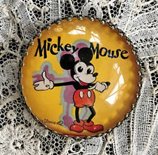"""MICKEY MOUSE Glass Dome STUDIO BUTTON 1 1/4"""" Vintage 1930'S BOOK COVER Art"""