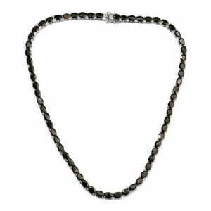 Black Spinel Tennis Necklace 18 Inch in Platinum Over Sterling Silver
